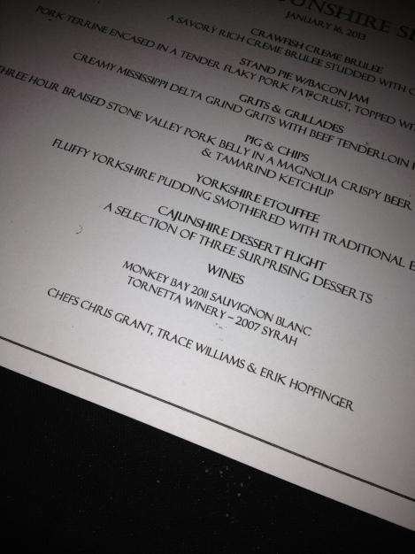 Cajunshire's dinner menu.